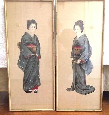 Pair 1900 Japanese Paintings on Silk of Geishas bamboo framed by Wanamaker