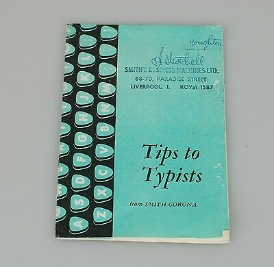 Tips For Typists Vintage Booklet From Smith-Corona 1950's/60's