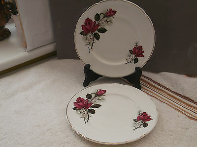 Two Sheriden China Side Plates With Red Rose Patterns