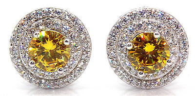 Sterling Silver Citrine & Diamond 1.56ct Stud Earring (925)