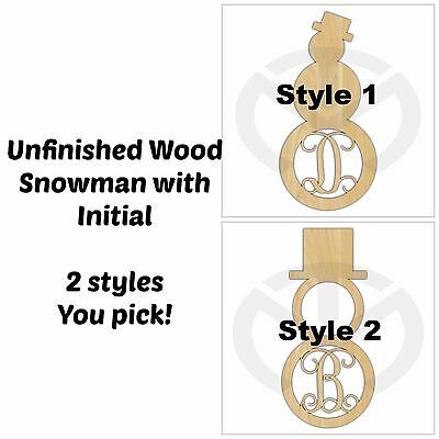 Unfinished Wood Snowman Door Hanger Laser Cutout with Initial, Various Sizes