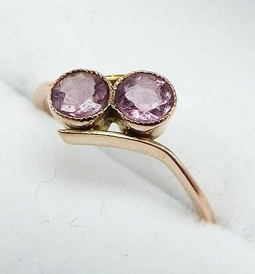 Vintage / 9ct Rose Gold Art Deco Double Purple Amethyst Crossover Ring / Size I