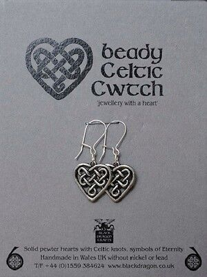Welsh Pewter  hearts with Celtic Knots and Sterling Silver Earwires