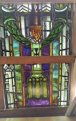 Antique Church Cross Religious Stained Glass Window Art