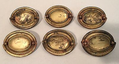Brass Oval Furniture Dresser Drawer Pulls Handles Old Lot of 6 Matching Antique