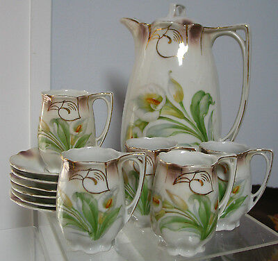 "11pc Set M.C.Germany Coffee/ Chocolate Pot 9"", Cups & Saucers  Callas Rare VTG"
