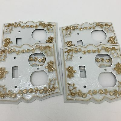 Vtg LOT OF 4 Metal Outlet Wall Covers White Gold Shabby Regency Switch Plates