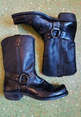Vintage 60's Mens Engineer Boots Harness Size 14 D Square Toe Black Leather
