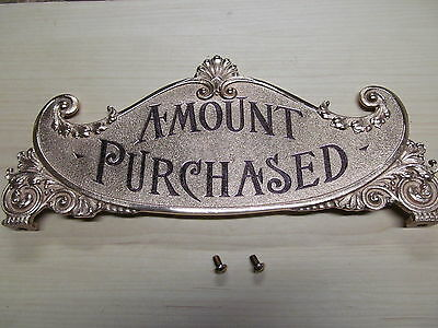 National Brass Cash Register Red Brass small 400 class size Repro top sign