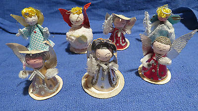 Vintage Set of 7 Paper Angel Christmas Chenille Glitter Ornaments Made in Japan