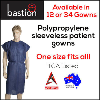 Disposable Patient Gown Dark Blue 12/34 Pieces BULK Exam X Ray Sleeveless