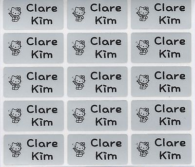 Medium Silver Personalised Name Stickers, Name Labels, 30x15mm, Waterproof