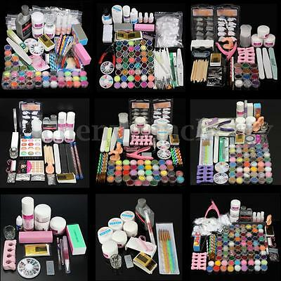 48 Colors Acrylic Powder Liquid Nail Art Kit Glitter UV Gel Glue Tips Brush Set