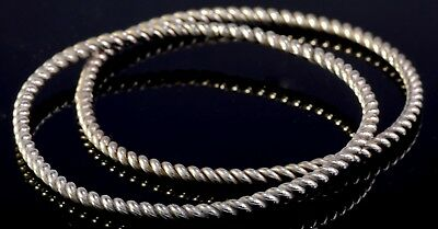 #142 Solid Sterling Silver 925 Handmade Twisted Rope Bangle Bracelet Not Scrap