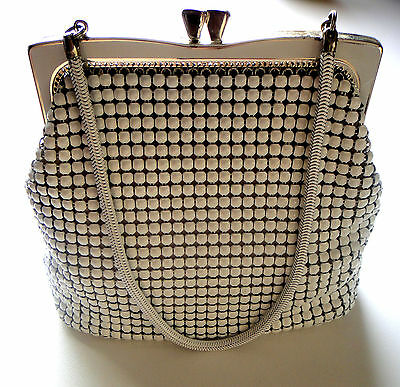 Glomesh Vintage Evening Hand Bag White Mesh 1970 Seventies 70's Box With Mirror