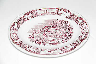 """Grindley Hotel Ware Oval Red Platter(S), Scenes After Constable,  8 1/4""""  Mint!"""