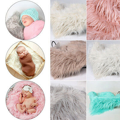 Newborn Baby Faux Fur Blanket Basket Stuffer Rug Backdrop Photo Photography Prop