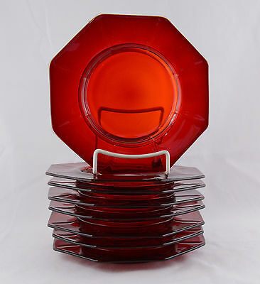 """Ruby Red  Eight Octagon Footed Plates (8 1/4"""" Point To Point)"""