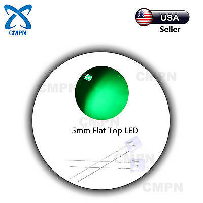 100Pcs 5mm Flat Top Water Clear Green Wide Angle Super Bright LED Light Diodes
