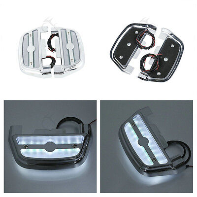 Clear Led Light Trittbrett Abdeckung Cover Peg Footboard Für Harley Touring