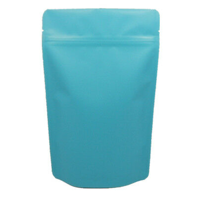 Matte Blue Pure Aluminum Stand Up Pouch Mylar Foil Zip Lock Food Packing Bags
