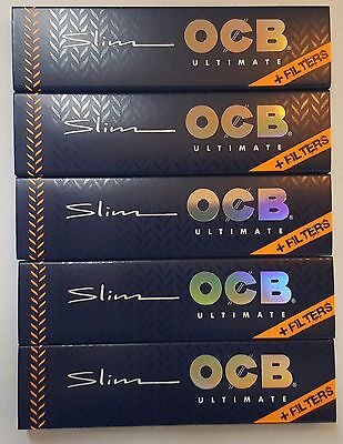 Brand New Ocb Ultimate King Size Thinnest Rolling Papers+Tips 5 Booklets