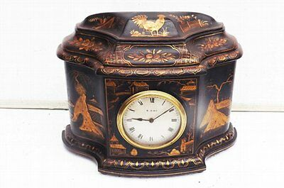 antique Chinese Laquered  mantle clock