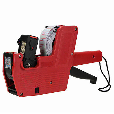 MX-5500 8 Digits Price Tag Gun + 5000 White w/ Red Lines Labels +1 Ink US Ship@E