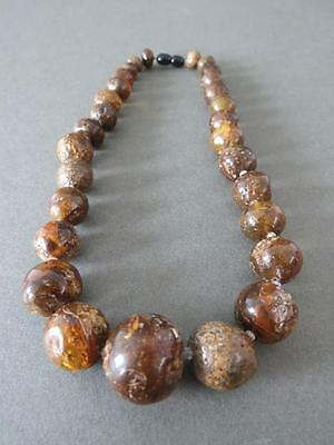 Vintage Natural Baltic Black Raw Amber Round Graduated Bead Necklace