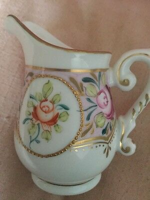 Old or Antique Paris Royal Porcelain Jug Hand Painted Flowers & Gilded Detail