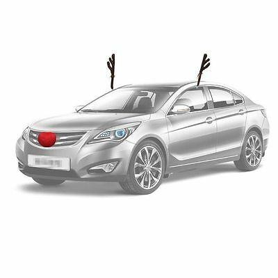 Christmas Reindeer Antlers for Car Truck SUV Van and Rudolph Red Nose Costume