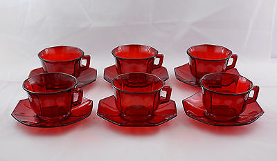 Ruby Red  Six Octagon Cups & Saucers