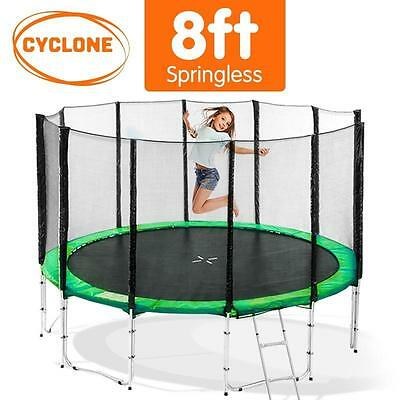 8FT Round Trampoline Safety Net Set Springless Pad Cover Mat Basketball