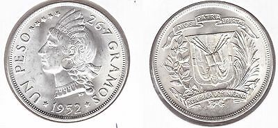 Dominican Republic - Silver 1 Peso Unc Coin 1952 Year Km#22