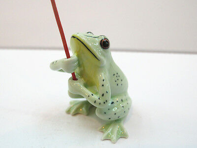 Incense Holder Porcelain Miniatures Collectible Ceramic GREEN Frog FIGURINE