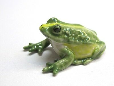 Porcelain Miniatures Collectible Ceramic Green Frog FIGURINE