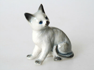 Handmade Miniatures Collectible Ceramic Porcelain Gray Tiger Cat FIGURINE