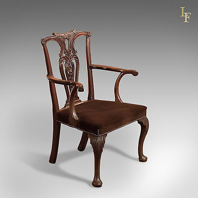 Antique Elbow Chair, 19th Century In Chippendale Taste, English, Mahogany