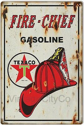 """Antique Style """"Texaco Fire Chief"""" Gasoline Metal Sign - Rusted"""