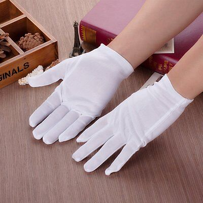 1 Pairs(2Pcs) White Coin Jewelry Silver Inspection Cotton Lisle White Gloves