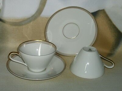 2 H & C Heinrich Selb Bavaria Germany Gold Greek Key Cups and Saucers