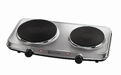 Russell Hobbs 15199 Electric Double Hob Mini Hob Stainless Steel Twin Hob 2250w