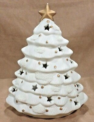 "9 1/4"" White Ceramic Tree With Gold Star & Star Cut Outs Open For Light"