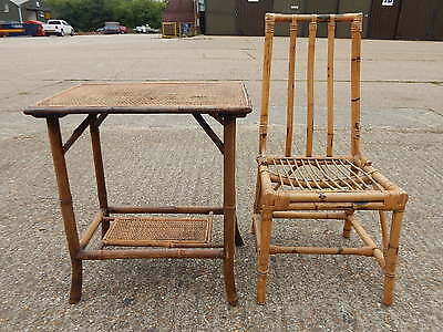 Mid century bamboo cane & wicker window seat chair with side table conservatory?