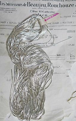 Beautiful AUTHENTIC FRENCH Vintage Silver Thread Smooth Purl Bullion Embroidery