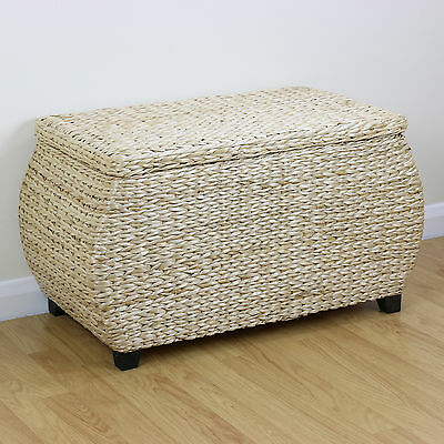 Natural Storage Trunk/Bench Woven Wicker Blanket Big Box/Stool Bedding Toy Chest