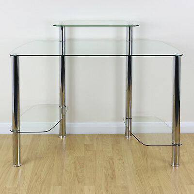 Large Clear Glass Office Computer/PC Desk Stand CPU Tower Shelf & Monitor Riser