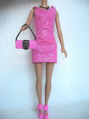 Tenue Complete Robe Colllier Sac Chaussures Poupee Barbie F41