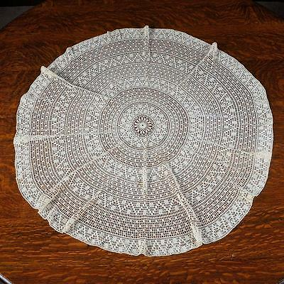 """Vintage Round Table Topper - Beige Approx. 33"""" Diameter"""