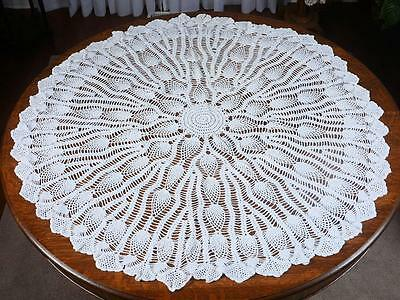 """Round Crocheted Table Topper/table Cloth - White Approx. 51"""" Diameter"""